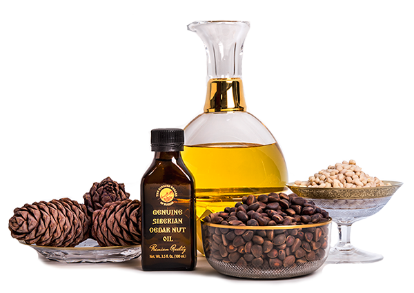 Siberian cedar nut oil bearing 'The Ringing Cedars of Russia' brand name.