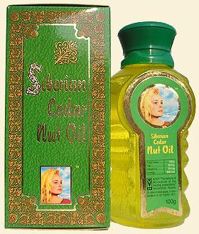 Cedar nut oil (pine nut oil) from Siberian cedar nuts, bearing 'The Ringing Cedars of Russia' brand name.