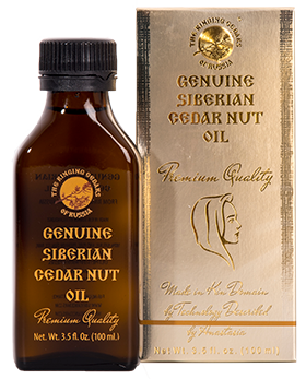 Cedar nut oil from Siberian cedar nuts, bearing 'The Ringing Cedars of Russia' brand name.