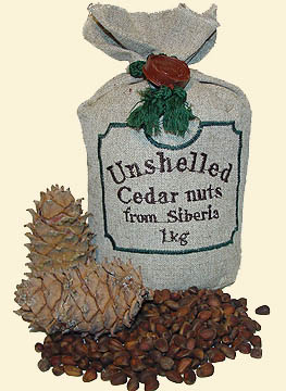 Shelled Siberian cedar nuts bearing 'The Ringing Cedars of Russia' brand name.