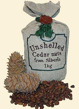 Shelled Siberian cedar nuts bearing 'The Ringing Cedars of Russia' brand name.